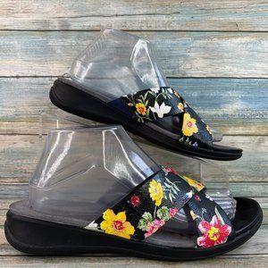 Softwalk Tillman Black Floral Leather Slide Sandal